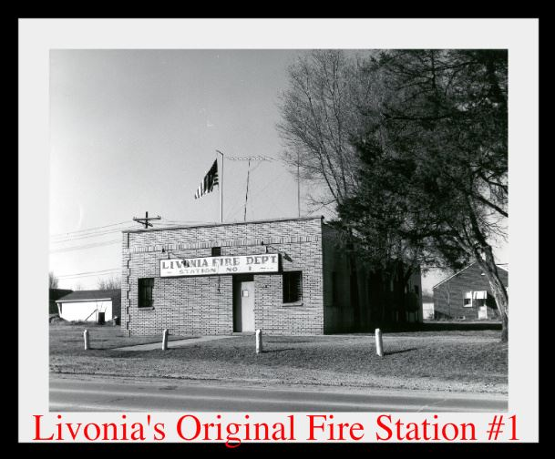 Black and White Photo of Livonia's Original Fire Station