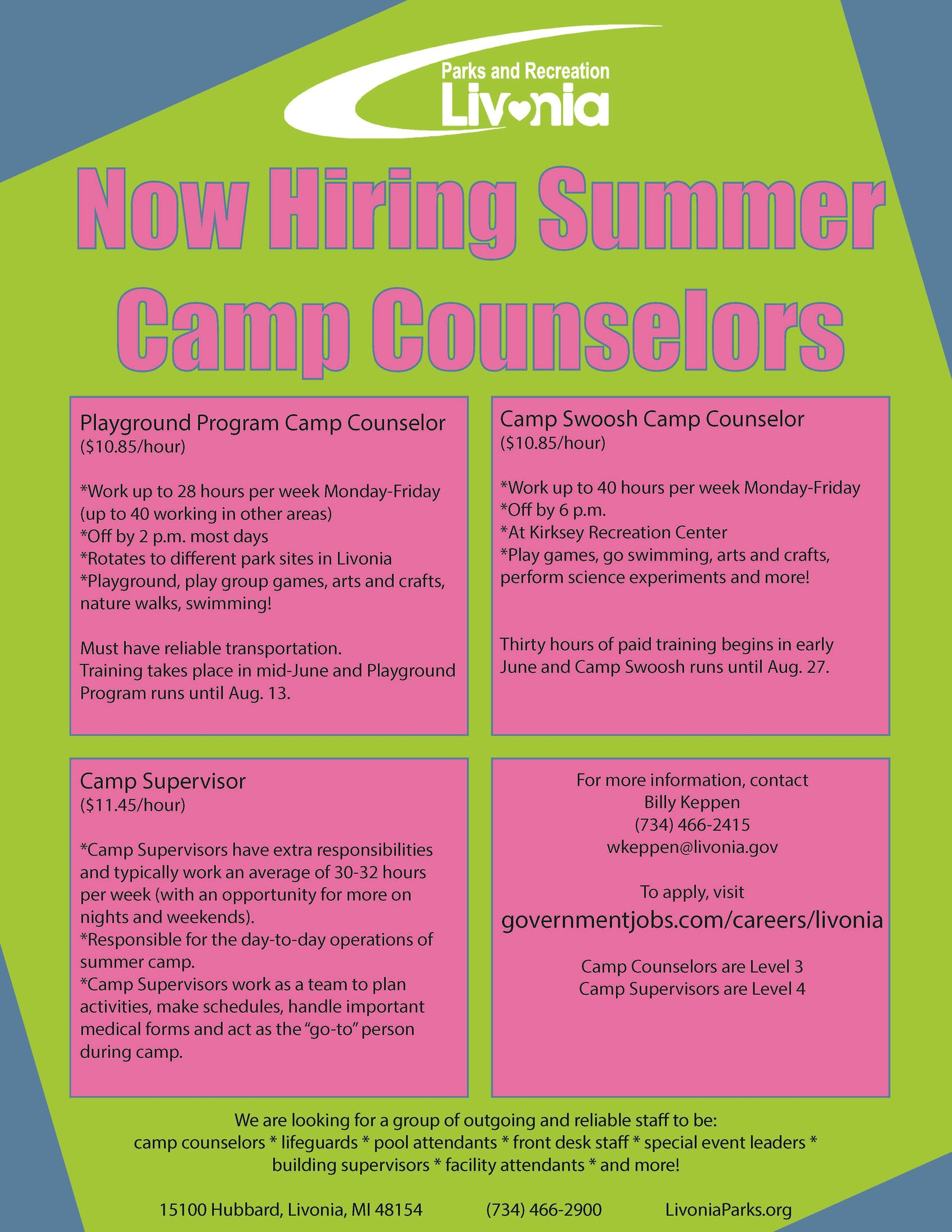 Hiring Camp Counselors Flyer 2021 Opens in new window